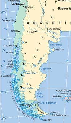 Punta Arenas On Strait of Magellan Separates S. Am.