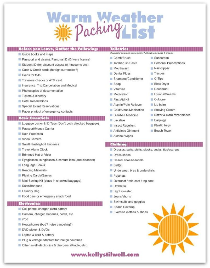 FREE Printable Packing Lists Kelly Stilwell Click on the