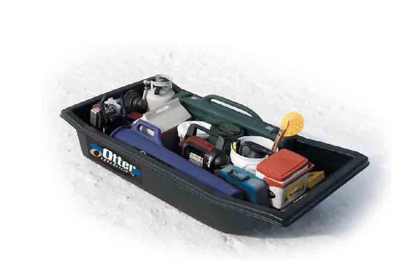..see page 6 Colors: #1110 BLK Weight: 8 lbs Size: 44 L x 22 W x 10 D Mini Otter Sled Colors: #1130 BLK/#1131 OD Size: 64 L x 32 W x 14 D Weight: 32 lbs Fits: Fits Otter Cabin 2 person portable fish