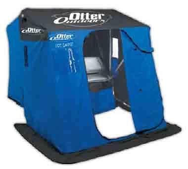 Package includes: 1 Otter Pro-Series Cottage Portable Fish House, 1 Otter Small Ultra-Wide Sled, & 1 Swivel Padded Seat.
