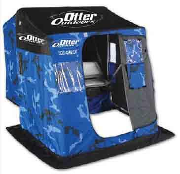 Colors: #2605 Ice Camo #2607 Arctic Blue Setup: 54 L x 77 D x 63 H OTTER ICE CABIN PACKAGE 2 Person Collapsed: 54 L x 32 W x 18 H Weight: 70 lbs The seat has high-density foam, 360 degree swivel and