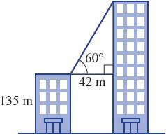 Two vertical buildings are 42 metres apart and the shorter building is 135 metres high.