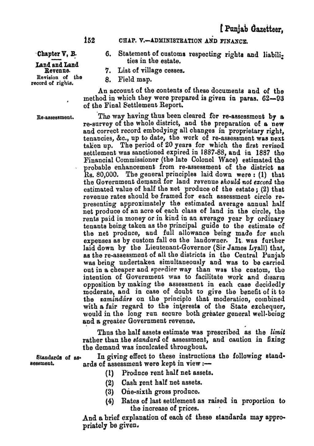 'Chaptel' V, B:.Land and Land Revenue. Revision of the record of rights. 152 CHAP. V.-ADMINISTRATION AND FINANCE. [PUDja,b Gazetteer, 6.