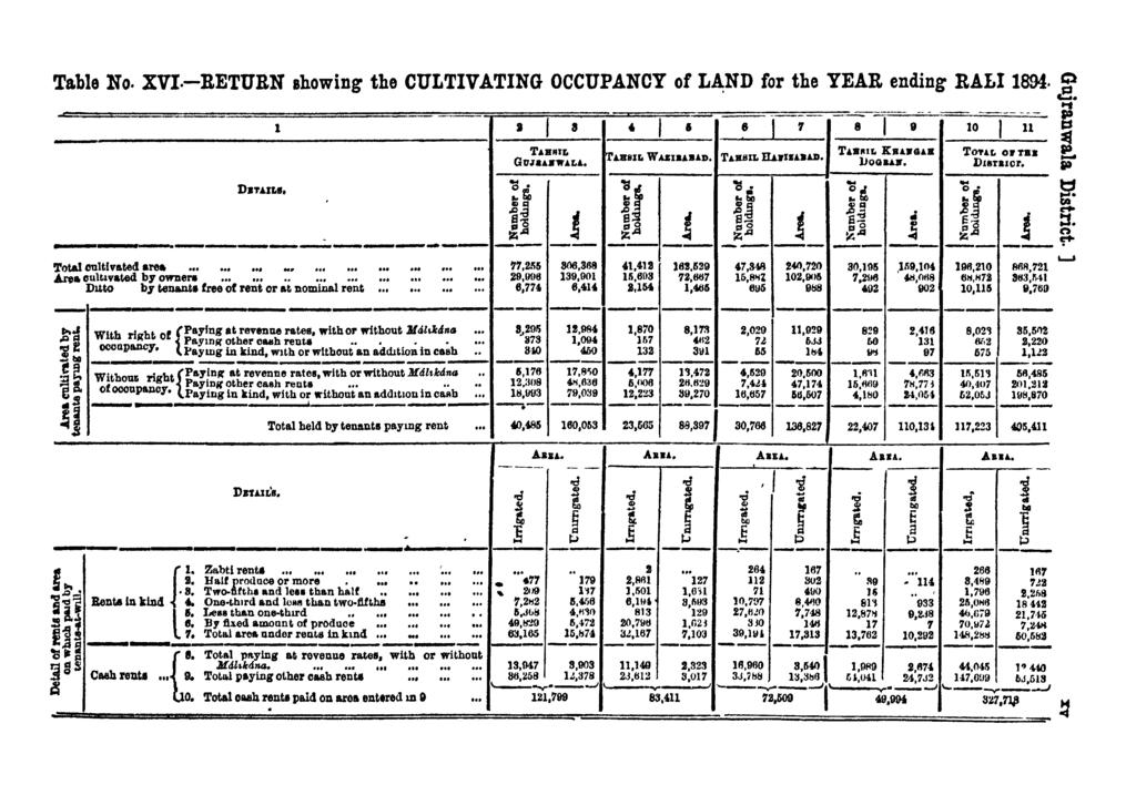 Table No. XVI.-RETURN showing the CULTIVATING OCCUPANCY of LA;ND for the YEAR ending BALI 1894.