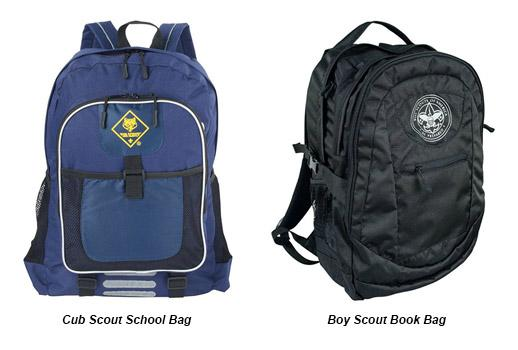 selection of backpacks and