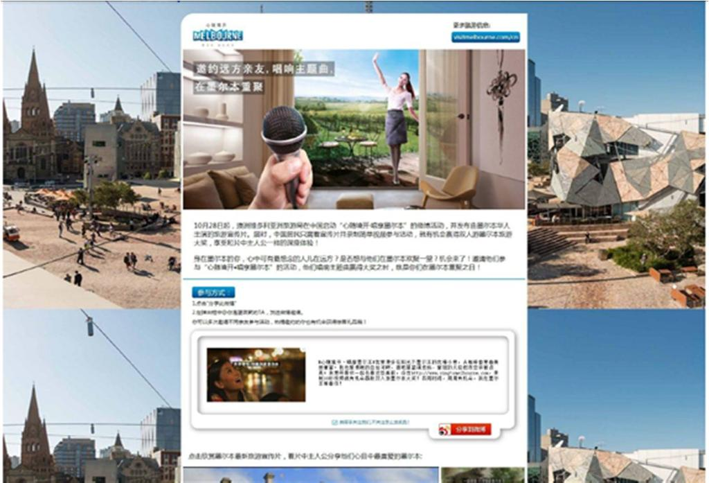 Visit Victoria s China Brand campaign - engaging with the local Chinese community Each week a featured video was uploaded to the dedicated Weibo page.