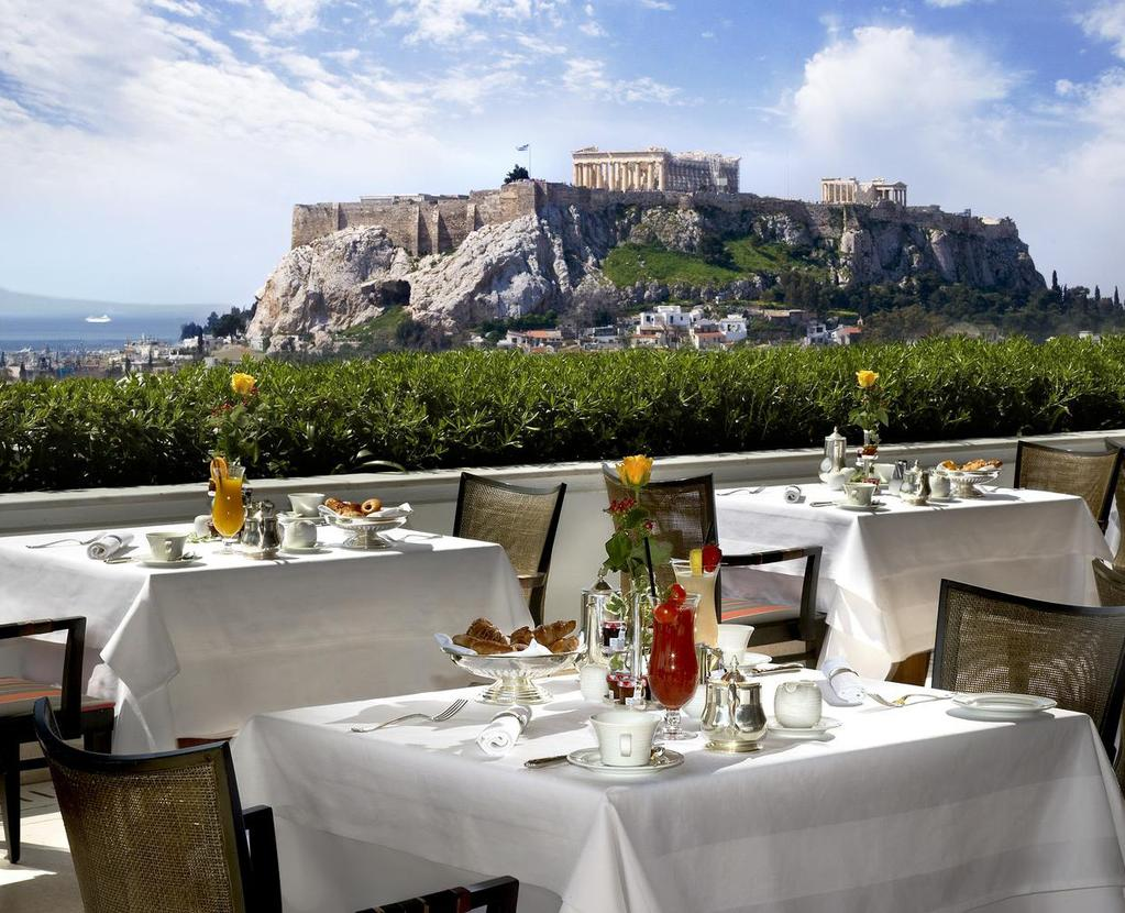 Suggested Hotels in Athens Grande Bretagne Hotel 5***** With breathtaking views of the fabled Acropolis, regal Syntagma Square and the Parliament, lush Lycabettus Hill or the original Olympic