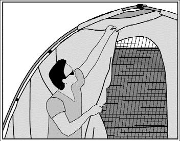 of the tent door. Starting at the bottom center, make sure the straps with hooks are on the inside of the tent.