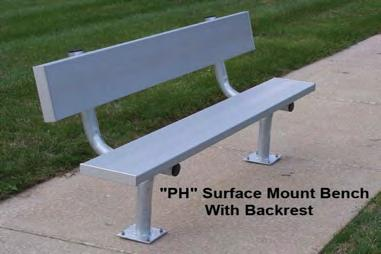 "Page 6 BEAM CLAY Aluminum Benches - National Recreation Systems NATIONAL RECREATION SYSTEMS Aluminum Benches Benches are made with anodized 2"" x 10"""