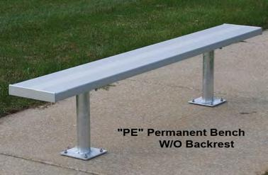 221 14 $720 BE-PB24 24 256 16 $845 PORTABLE BENCH W/BACK (GALVANIZED STEEL LEG) BE-PG06 6' 129 4 $370 BE-PG08 8' 136 5 $405 BE-PG12 12' 177 8 $570