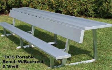 BE-DG12 12' 124 8 $455 BE-DG15 15' 135 10 $505 BE-DG21 21' 193 14 $665 BE-DG24 24' 214 16 $770 PORTABLE BENCH W/BACK AND SHELF (ALUMINUM LEGS) BE-DGS06 6'
