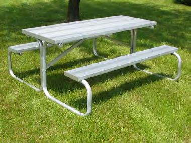 "All-Aluminum Picnic Tables - National Recreation Systems Page 8 PICNIC TABLES All-Aluminum Picnic Tables are lightweight and maintenance-free aluminum. Seat and table top feature 17/8"" O.D."