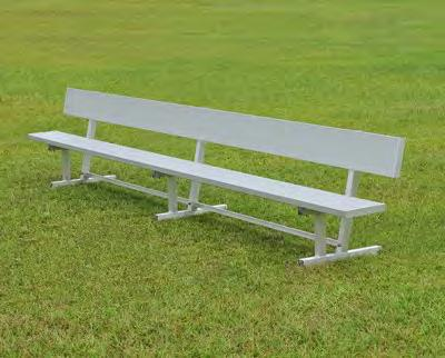 "All-Aluminum Team Benches and Tables Page 9 Varsity All-Aluminum Benches with 2"" square tube understructure PERMANENT BENCHES WITH BACKS (legs to set in concrete) PCTS 6 6' 40 4"