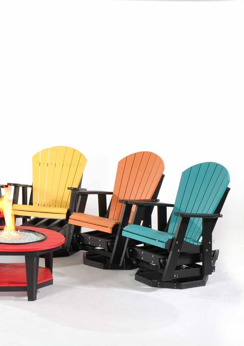 Yard & Patio #308 Adirondack Folding Chairs Colors (l to r): brite red with black