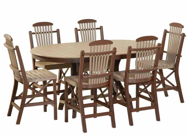 "Balcony Tables set 16 #955 54"" Round Balcony Table 6 - #950 Side Chairs weatherwood and"
