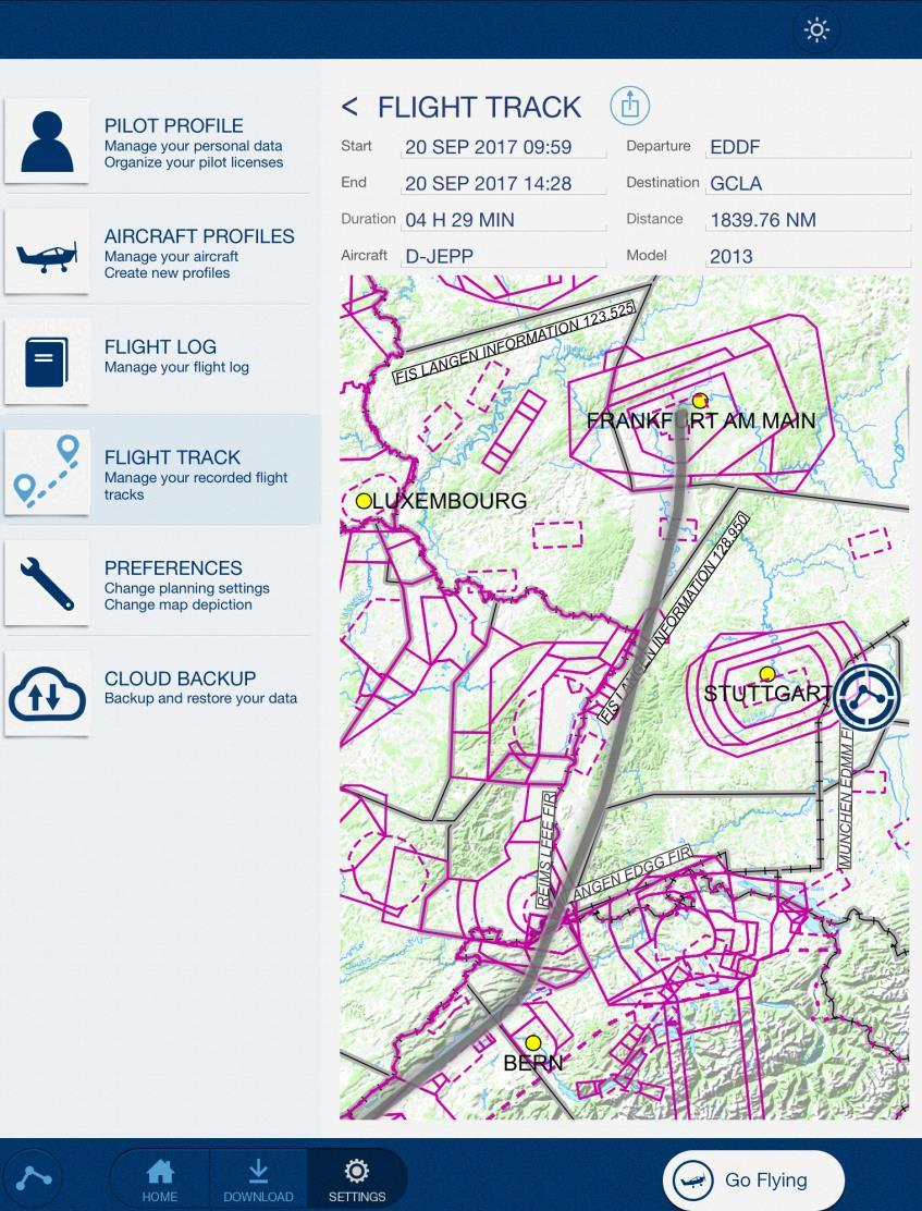 Review a recorded Flight Track Mobile FliteDeck VFR version 2.2.1 allows to review recorded flight tracks in the application.
