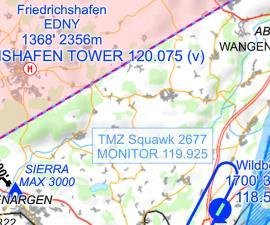 TMZ Transponder Codes are visible in the seamless map Mobile FliteDeck VFR version 2.2.1 shows the transponder codes for TMZs in the seamless map.
