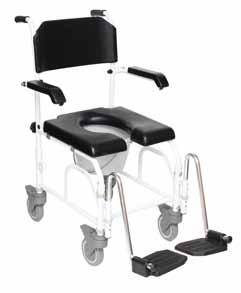 Commode Rolling Chair can be used as a rolling comode for safe transport to and from the shower or over the toilet. Comes with 5 rear wheels.