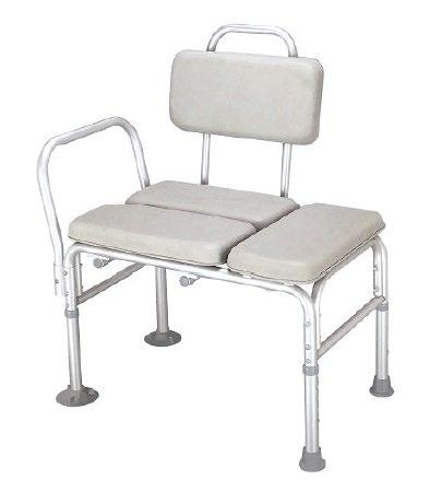 Height adjustable Armrest support on one side Rust Resistant Lightweight Limited Lifetime Non-Padded Transfer Bench - One-Piece Molded Seat, Assembled, White Padded Transfer Bench - Closed Seat,