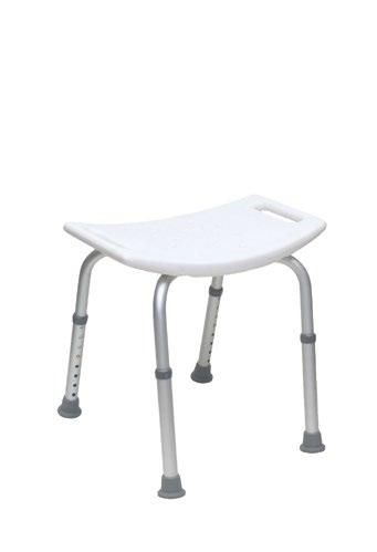 Shower Chair and Stool Shower Chair With Back, Knock-Down, White Shower Stool Without Back, Knock-Down, White Lightweight, durable and corrosion resistant height adjustable aluminum frame.