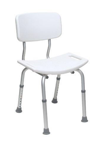 Height adjustable Small footprint Rust Resistant Lightweight Limited Lifetime The Breezy Everyday Shower chair with back is designed for people who do not require back support when sitting.