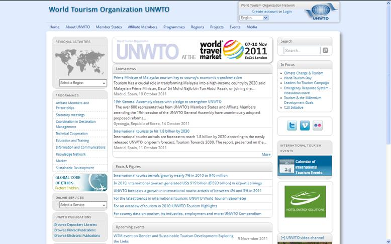 Where to find information prepared by UNWTO? www.unwto.