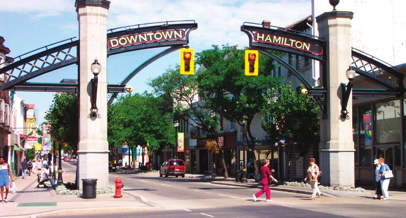 Downtown Hamilton Downtown Hamilton showed steady growth of 7.2% to over 28,000 residents from 1996 to 2001 and exhibits high and balanced densities of 66.6 residents and 66.9 jobs per.