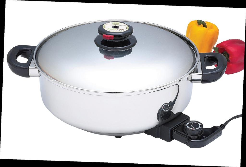 THE ELECTRIC COLLECTION 12 Deep Electric Skillet/Slow Cooker This surgical stainless steel electric skillet, slow cooker features a 120v, 1500 watt on/ off power cord, temperature
