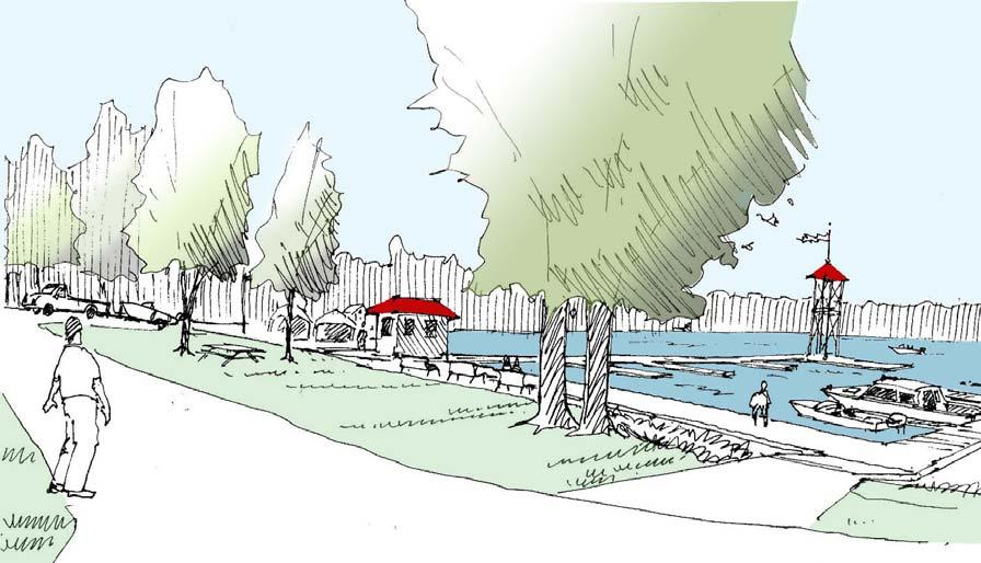 Another desirable waterfront path would connect the elbow of Water Street with the village docks.