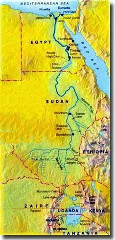 called because of the Nile s northerly flow. Because the Nile runs through some rocky and hilly lands, it caused or to form.
