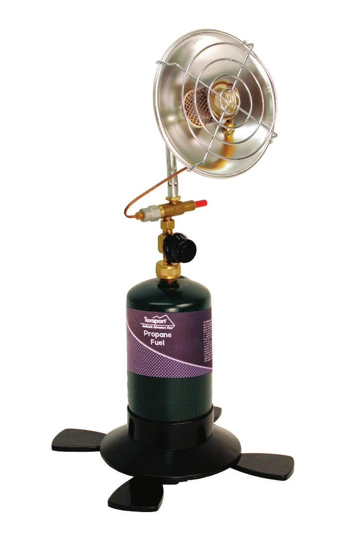 Propane Heaters 14215 Propane Heater Durable stainless steel burner Individual regulator on/off control knob adjusts burner up to 2,890 BTUs Auto shut off valve shuts off fuel if