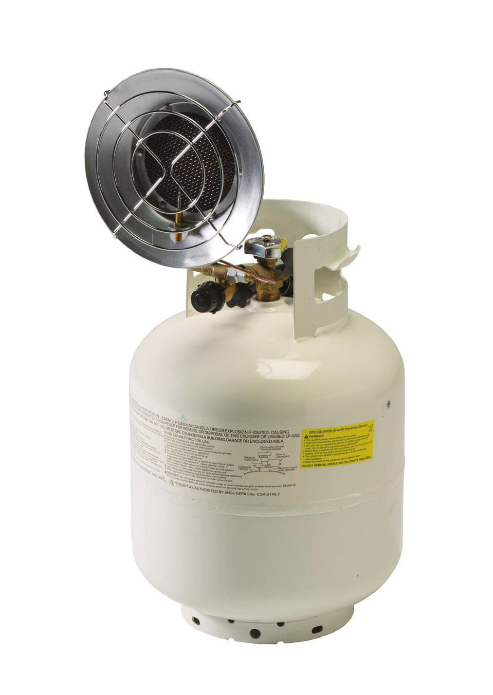 Propane Heaters 14217 Deluxe Propane Heater Connects to bulk tank (not included) Durable ceramic burner for even heating and increased heat radiation On/off control knob adjusts burner up to