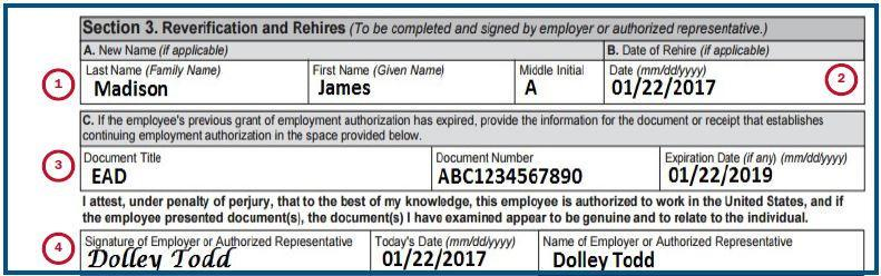 Page 21 of 118 If the previous Form I-9 indicates that the employee s employment authorization has expired, you must reverify employment authorization in Section 3 in addition to providing the rehire