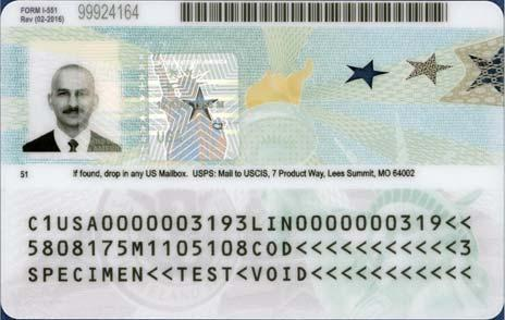 The card is personalized with the bearer s photo, name, USCIS number, alien registration number, date of birth, and