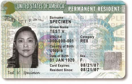 Note that on the card, shown below, the lawful permanent resident s alien registration number, commonly known as the A