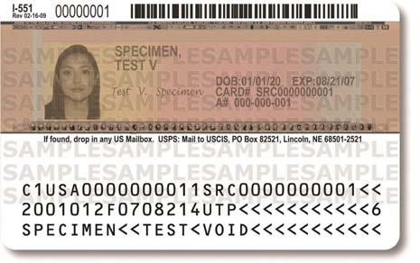 Page 69 of 118 Another older version of the Permanent Resident Card shows the DHS seal and contains a detailed
