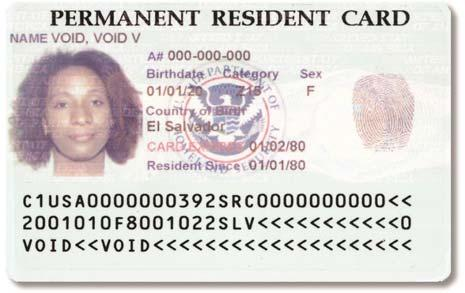 Each card is personalized with an etching showing the bearer s photo, name, fingerprint, date of birth, alien