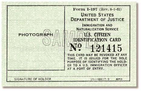 Page 82 of 118 Identification Card for Use of Resident Citizen in the United States (I-179) Form I-179 was issued by INS to U.S. citizens who are residents of the United States.