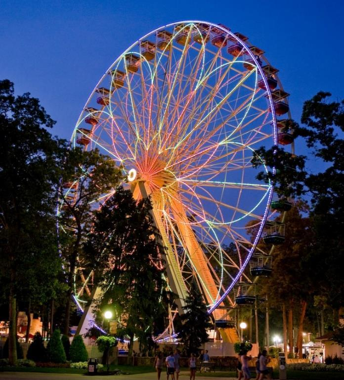 If your energy use goes down by half, then the energy cost is half. The incandescent lights had cost Six Flags approximately $160 per day in electricity to light up the Big Wheel.