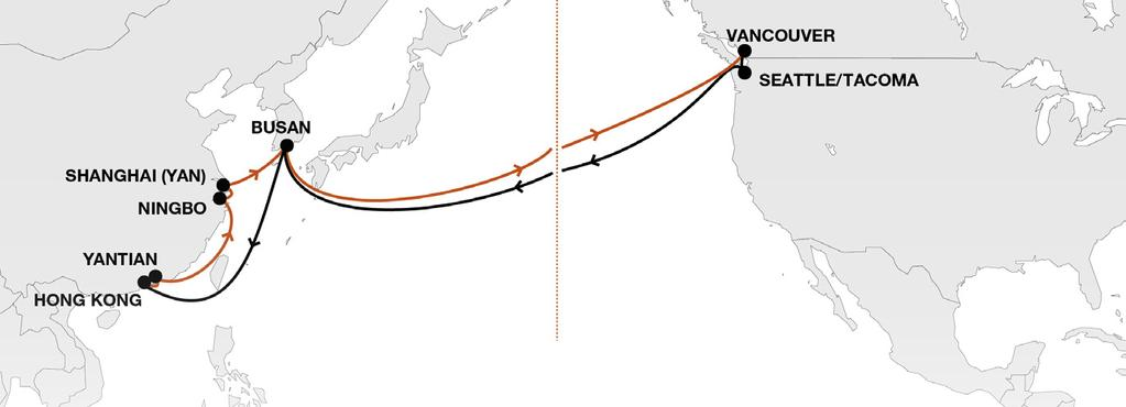 Transpacific Services as of April 2018 PN3 Pacific North Loop 3 Fast connections from South / Central China /