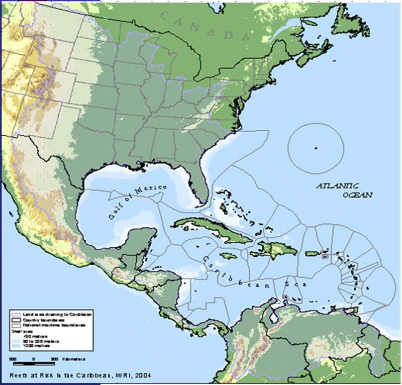 The Wider Caribbbean Region Continental nations 14. Belize 15. Colombia 16. Costa Rica 17. Guatemala 18. Guyana 19. Honduras 20. Mexico 21. Nicaragua 22. Panama 23. Surinam 24. USA 25.
