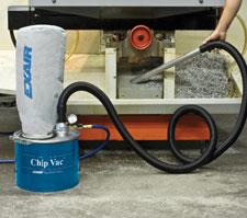 The compressed air operated Chip Vac is an industrial duty vacuum designed specifically for vacuuming chips.
