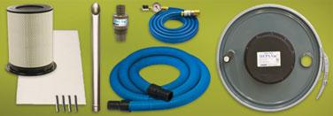 1m) compressed air hose, aluminum chip wand, shutoff valve, and gauge. The Heavy Duty HEPA Vac s lever lock drum lid fits any open top 55 gallon drum.