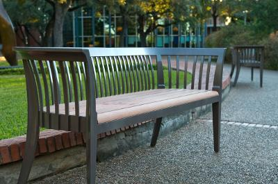 CH16 Quantity: 2 Location: Outdoor Court Manufacturer: Landscape Forms Product Description: Melville Outdoor Backed Bench Model #: n/a Dimensions: 73.25 x 17 x 21.