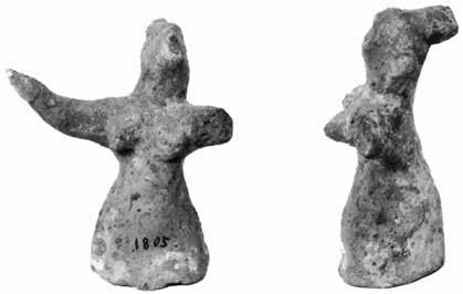 079 m high) has upraised arms (Fig. 27); the other (HM 1805, 0.086 m high) has only its right arm preserved (Fig.