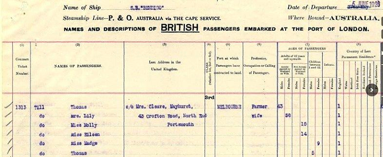 5th June 1926. Madge Till was nine when she left Havant. She married in Australia and died in 1950.