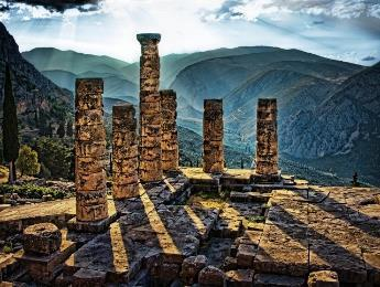 the Temple of Apollo famous for its oracle and Delphi museum, with it's spectacular exhibits include the frieze of the Treasury of the Sifnians, the Naxian Sphinx, the Statue of Antinoos, the metopes
