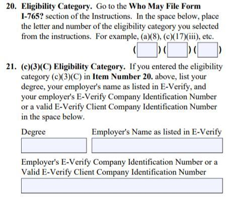 Form I-765 C 3 C Item # 20: Eligibility Category Write (c)(3)(c) for STEM OPT extension. M.S. *Required!