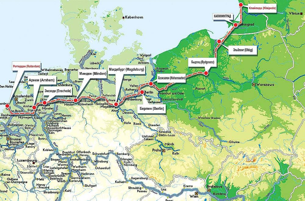 PLAN OF INTERNATIONAL WATERWAY ROUTES E30 and E70 The international waterway E-70 It comes from Rotterdam through Germany, Poland, Kaliningrad Region to the Klaipeda.