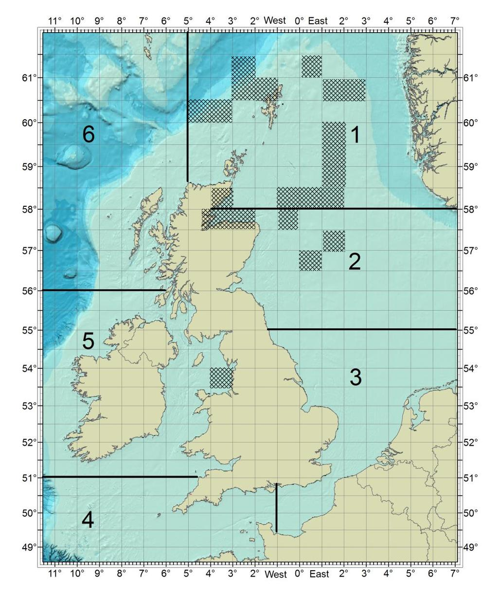 For live Kingfisher updates of offshore activities, visit www.fishsafe.eu and follow @KingfisherInfo on Twitter The shaded blocks below indicate reports of fishing hazards and offshore activities.